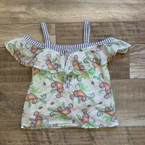 Off-shoulder paisley blouse